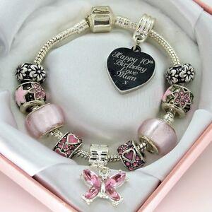 Image Is Loading Girls Jewellery ENGRAVED Bracelet Pink Beads PERSONALISED Birthday
