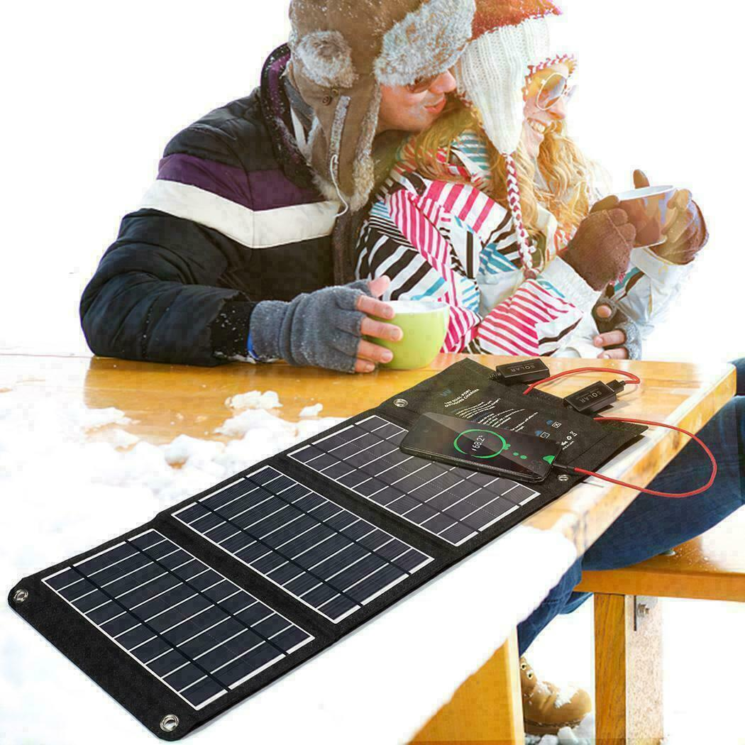 16-120W Foldable Portable Solar Panel Battery Charger USB Ports for Phone Power[