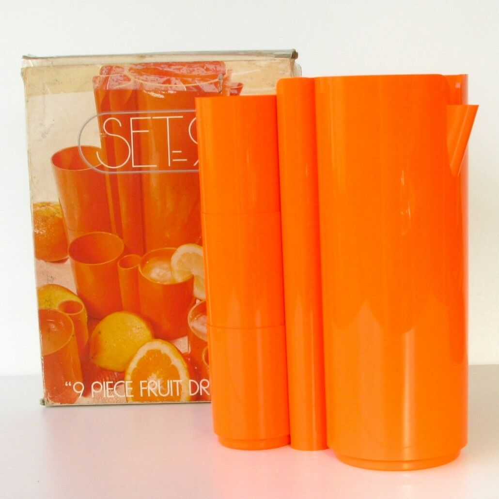 Service à naranjaade Naranja  SET 9 - 9 pièces très vintage - Plastique - Etat neuf  mejor marca