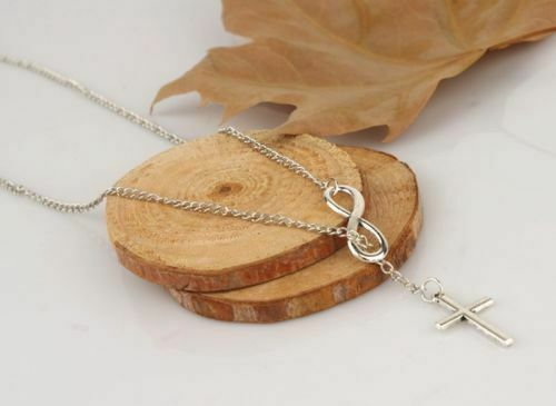 Women's Fashion Jewelry 925 Sterling Silver Plated Infinity Cross Necklace 4-3