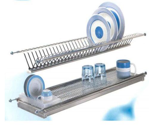 Scolapiatti colapiatti con vassoio in acciaio coppia reti regolabile da 76 cm