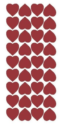 """Burgundy 1/"""" Heart Stickers SHOWER Wedding Envelope Seals School arts /& Crafts"""