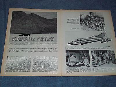 """1961 Bonneville Streamliners Vintage Anteprima Articolo """" Bonneville Anteprima """" Valore Eccezionale"""