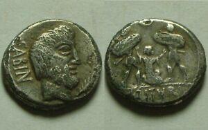 Genuine ancient Roman silver coin denarius Tarpeia BETRAYS Rome Sabine Tatius 89