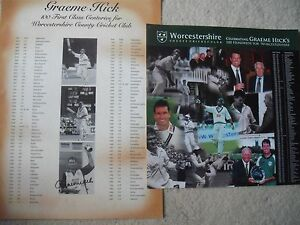 GRAEME HICK SIGNED WORCESTERSHIRE CRICKET CENTURIES POSTER - <span itemprop=availableAtOrFrom>Horsham, United Kingdom</span> - GRAEME HICK SIGNED WORCESTERSHIRE CRICKET CENTURIES POSTER - Horsham, United Kingdom