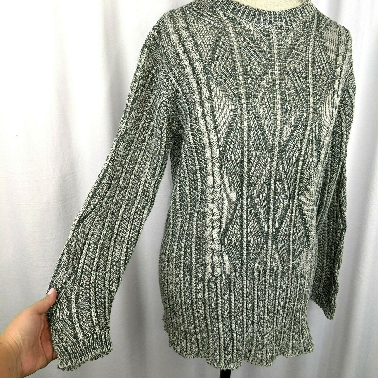 Inis Meain Gray Cream Linen Cable Knit Sweater Sz… - image 3