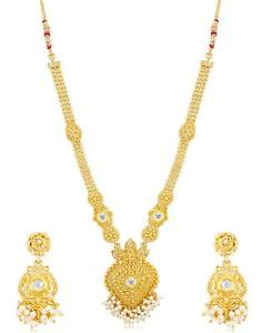 Gold-Plated-Halskette-Indian-antiken-traditionellen-Party-Wear-Brautschmuck-Set