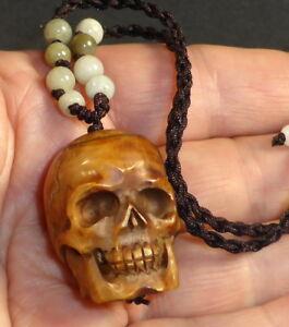 Water Buffalo Bone Skull Bead Adjustable Necklace Real Jade Beads Hand Carved Ebay