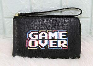 Coach-Corner-Zip-Pacman-Game-Over-Leather-Wristlet-BLACK-MULTI