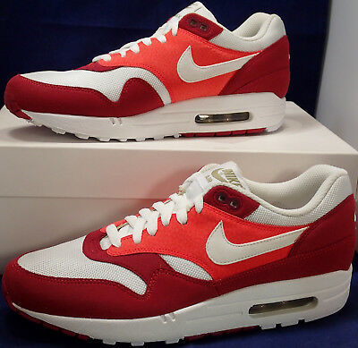check out a8cc0 c607b 2011 Nike Air Max 1 Héritage Rouge Blanc Kaki Gomme Marron Foncé Sz 9
