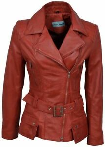 2812 Style Leather Sexy Washed Feminine Designer Red Jacket Biker Real Ladies qzOwxxA