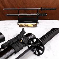 Black Folded Steel Blade Japanese Samurai Ninja Sword Full Tang Damascus Sharp