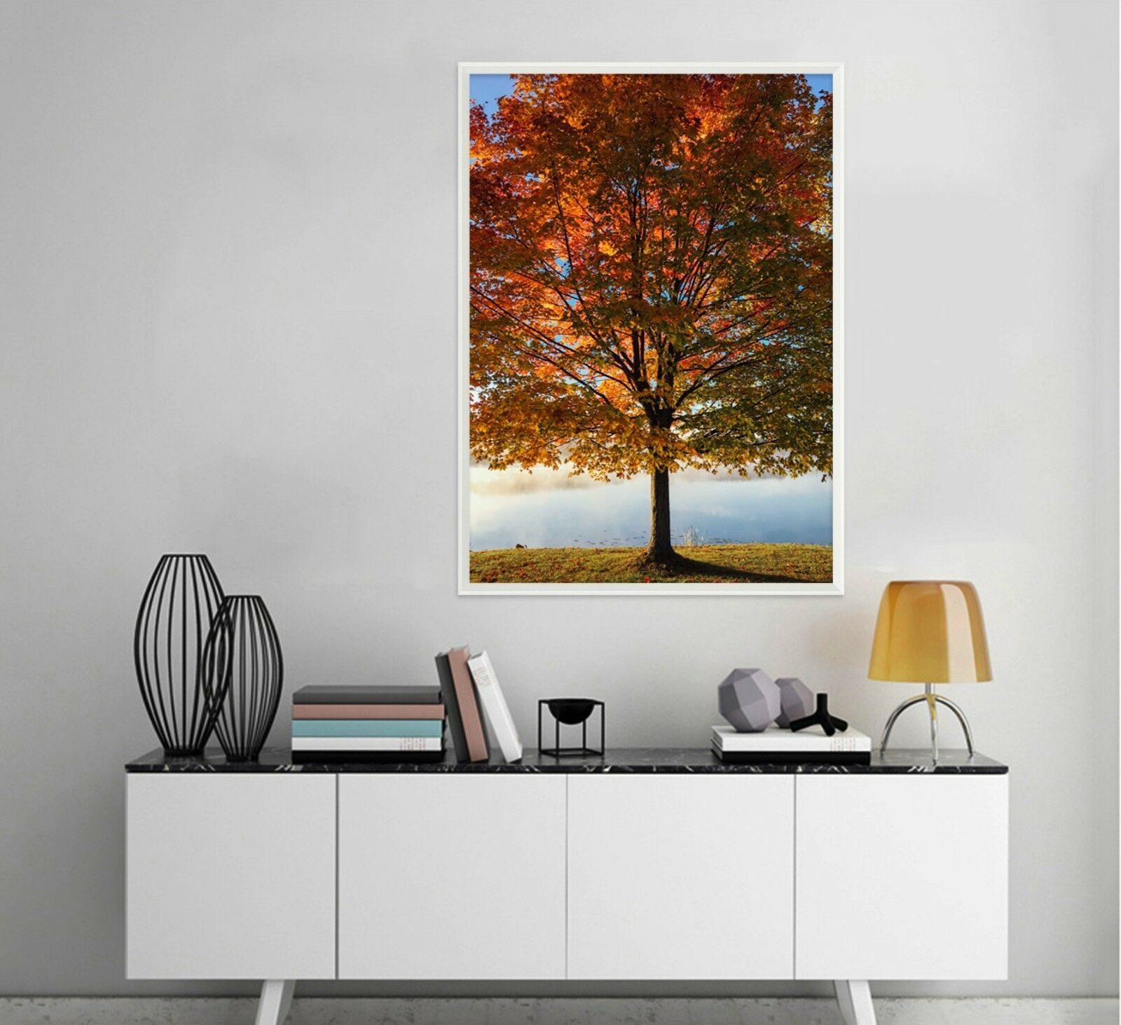 3D Lake Sunset Tree 2 Framed Poster Home Decor Print Painting Art AJ WALLPAPER