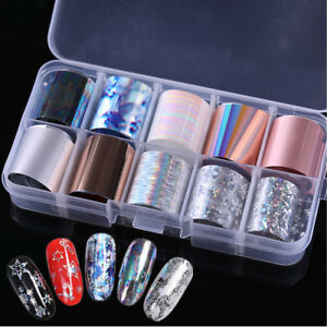 10-Rolls-Box-Rose-Gold-Shell-Nail-Foil-Snowflake-Holographic-Stickers
