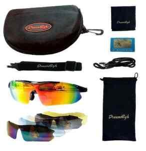 D&H Bike Professional Polarized Cycling Glasses Sports Sunglasses UV400 5 Lens