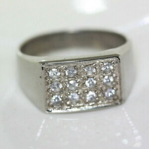Vintage-Modern-Men-039-s-Clear-Cluster-CZ-Solid-925-Silver-Gents-Ring-Band-Sz-6-5