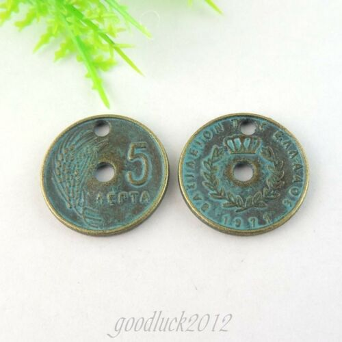 Round 18mm Vintage Style Patina Alloy Coins Pendants Charms Jewelry Craft 30 pcs