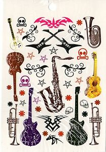 Ephemere Corps Bijoux Tatouage Jetable Art Corporel Musique Guitare