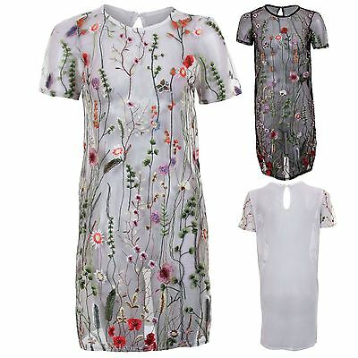 Ladies Short Sleeve Mesh See Through Floral Embroidered Straight Vintage Dress Angemessener Preis