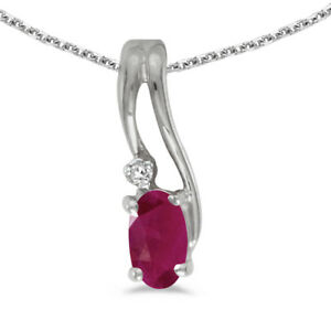 14k-White-Gold-Oval-Ruby-And-Diamond-Wave-Pendant-with-18-034-Chain