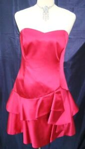 Coast-Strapless-039-Coquette-039-Hot-Pink-Satin-Dress-Size-16-BNWT