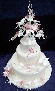 3 Tier Wedding Cake Butterfly Flowers Topper Cake Not Included