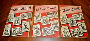 CatalinaStamps-Lot-of-3-Adventurer-Albums-Harris-1949-1953-w-450-Stamps-Lot-E