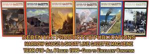 1990-Narrow-Gauge-amp-Short-Line-Gazette-Six-Magazine-Set-Free-Priority-USPS-Mail