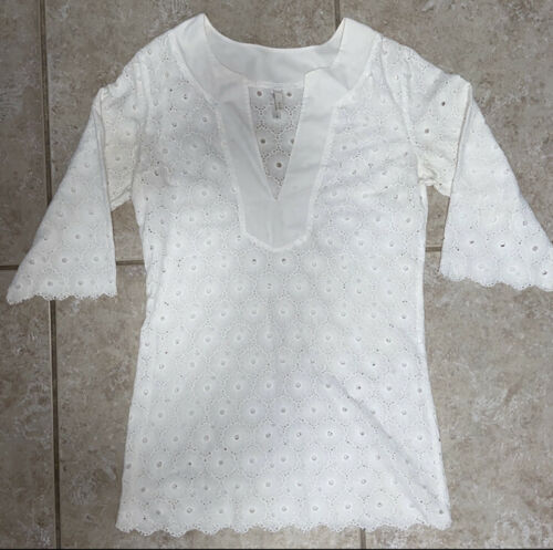 VIX White Cotton Eyelet Tunic Top Cover Up Dress S