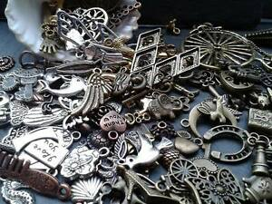 30g Antique Gold Silver Bronze Copper Charm Mix Steampunk