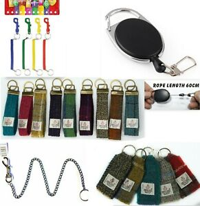 Retractable-Ski-Pass-Holder-Key-Ring-Harris-Tweed-Keyring-Spring-metal-Fob