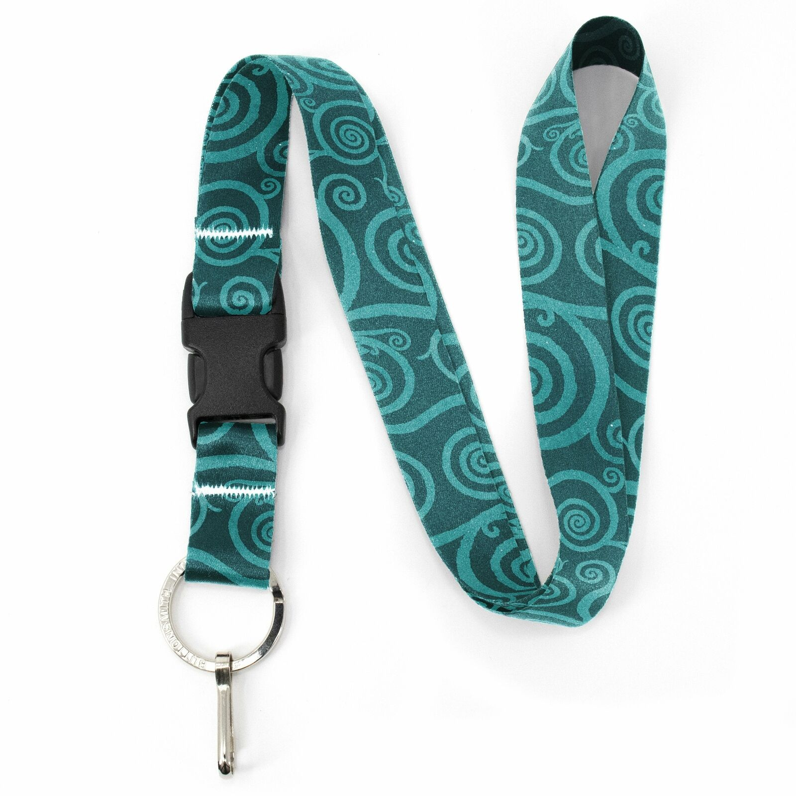 Buttonsmith Aquamarine Swirls Premium Lanyard - with Buckle and Flat Ring - Made
