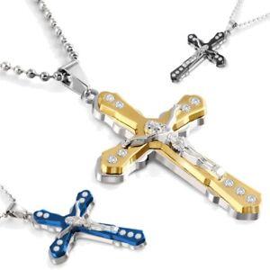 Herren-Edelstahl-60cm-Kugelkette-mit-Kreuz-Anhaenger-gold-schwarz-blau