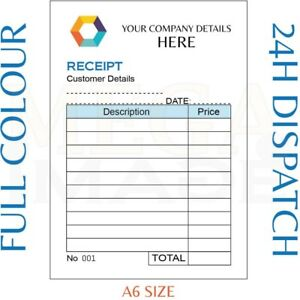 personalised duplicate a6 receipt book pad print ncr invoice