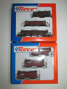Convolute-2-Roco-Wagensets-24011-24014-With-5-Freight-Car-Boxed-Scale-N