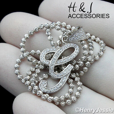 """925 STERLING SILVER 18-30/""""X2MM MOON CUT BEAD CHAIN ICED NUMBER/""""9/"""" PENDANT*ASP179"""