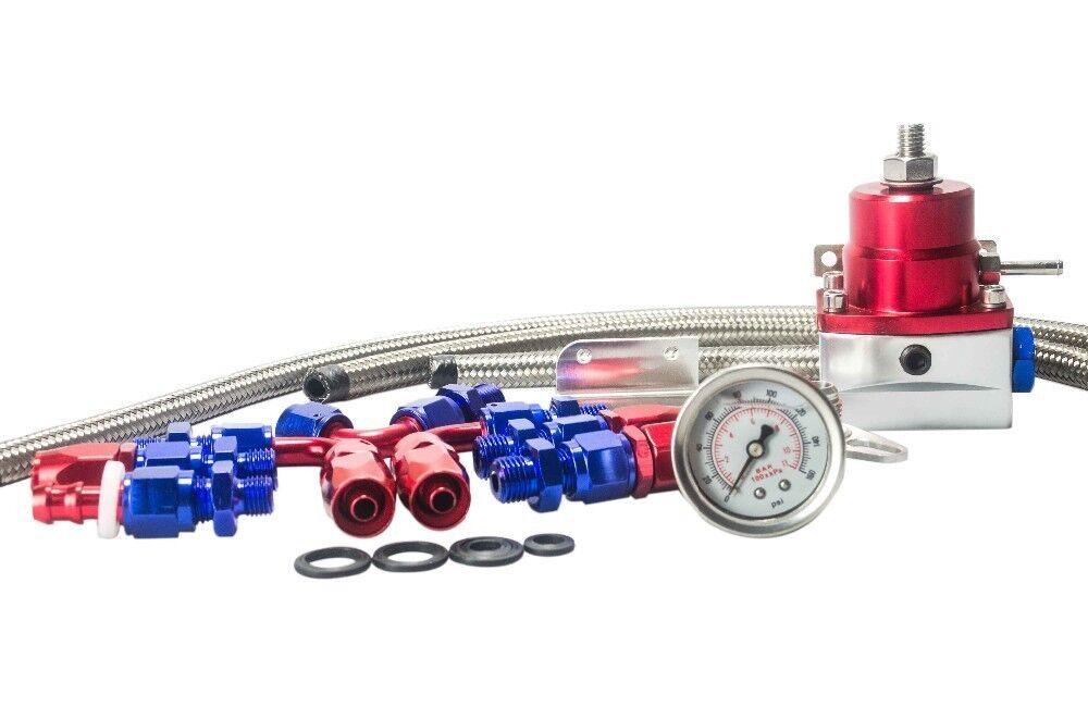 7mgte mkiii fuel pressure regulator red with hose line kit fittings gauge set ebay. Black Bedroom Furniture Sets. Home Design Ideas
