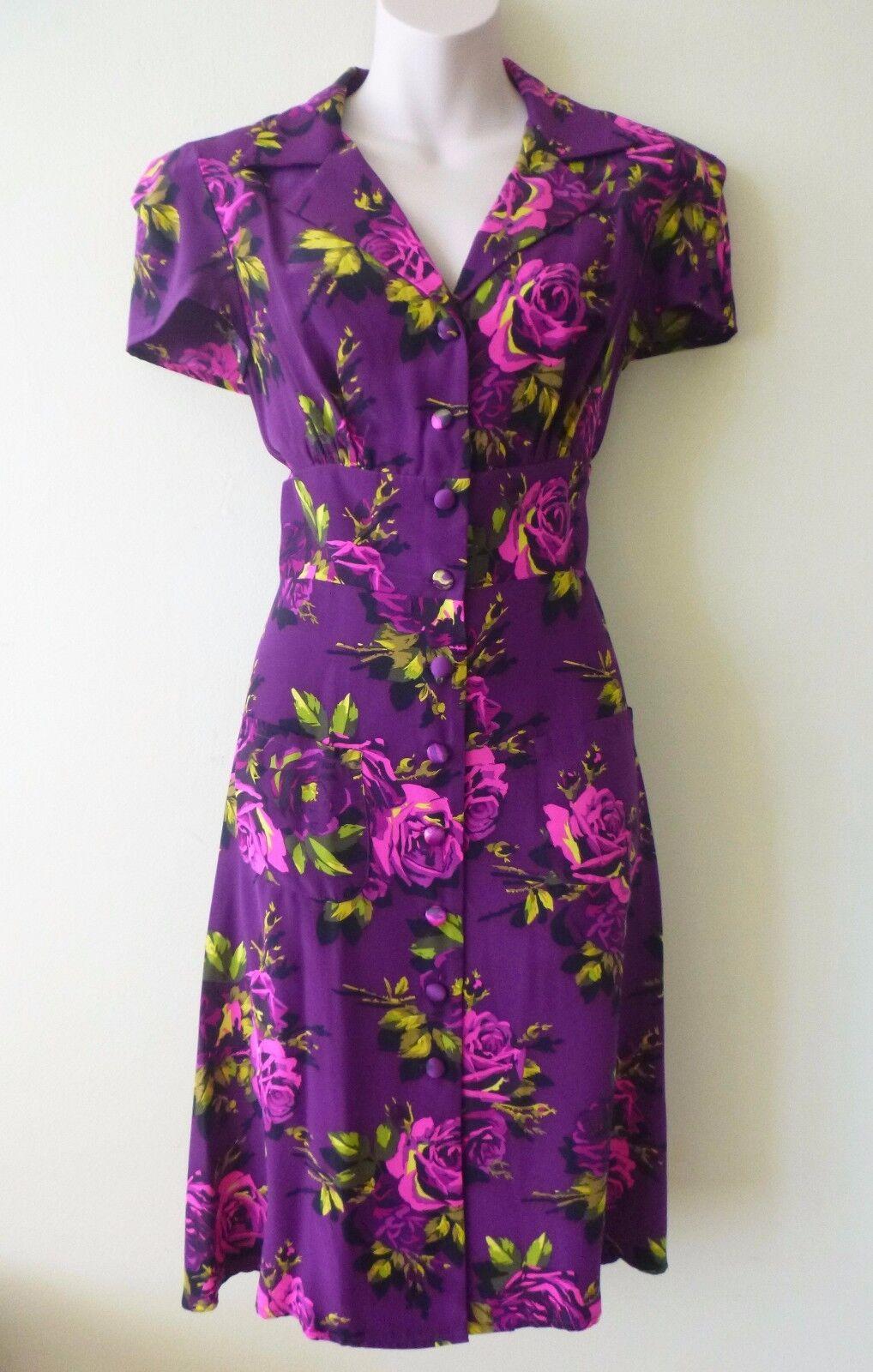 Neuf avec étiquettes Betsey Johnson 100% Soie Violet Pourpre Floral Roses Thé Robe-US Taille 10