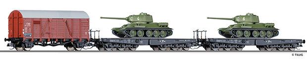 HS Tillig 01628 beni Wagenset  trasporto militare  carri armati con BEWG elementi.