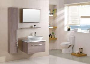 Mobile bagno arredo bagno completo pensile acero 80cm lavabo specchio rubinetto ebay - Pensile specchio bagno ...