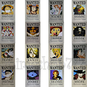 """16.5""""x11.4"""" One Piece Wanted Poster Cosplay Luffy Shanks Ace Chopper 16pcs"""
