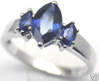 Lab Created Blue Sapphire Silver Ring, Sep 58