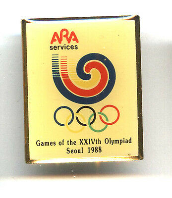 Logo Pin Summer Olympic Games Seoul 1988 Ara Services Consumers First Sports Mem, Cards & Fan Shop