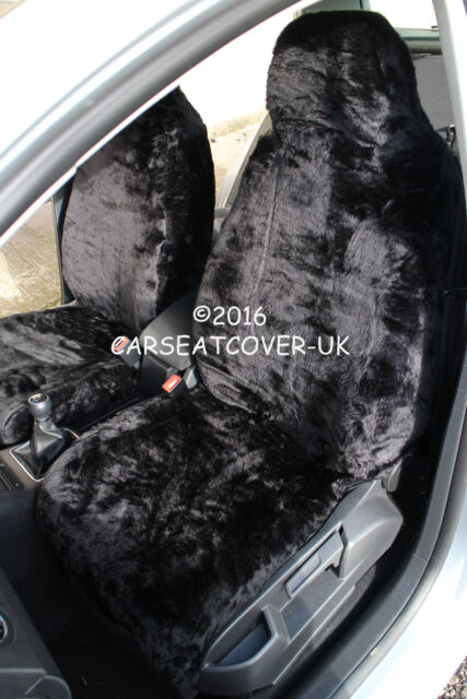 Kia Carens (2000-06) Panther Black Faux Fur Car Seat Covers - 2 x Fronts