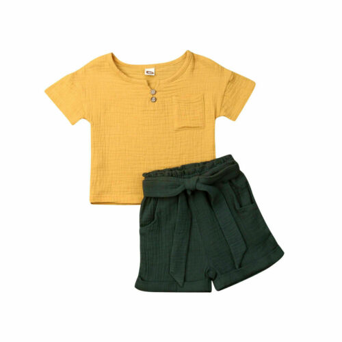 US 2pcs Toddler Kid Baby Girl Cotton Linen Top+Summer Short Pants Casual Outfits