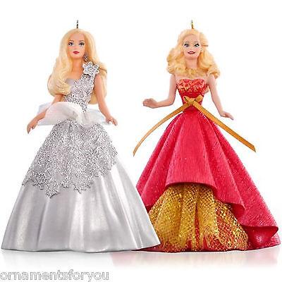 Hallmark 2015 Celebration Barbie Set of 2 2013 2014 Holiday Barbies Ornaments