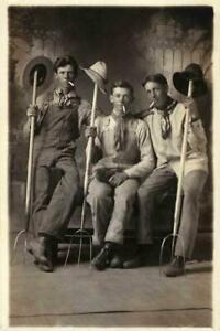 Vintage-Studio-Photo-Three-Farm-Hands-Smoking-Vintage-Photo-Print-4x6