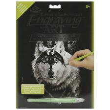 ROYAL BRUSH Silver Foil Engraving Art Kit 8 by 10-Inch Dragon Wolf