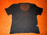 elegantes schwarzes Shirt Halbarm Gr.36 chices Durchbruchstrickmuster TOP