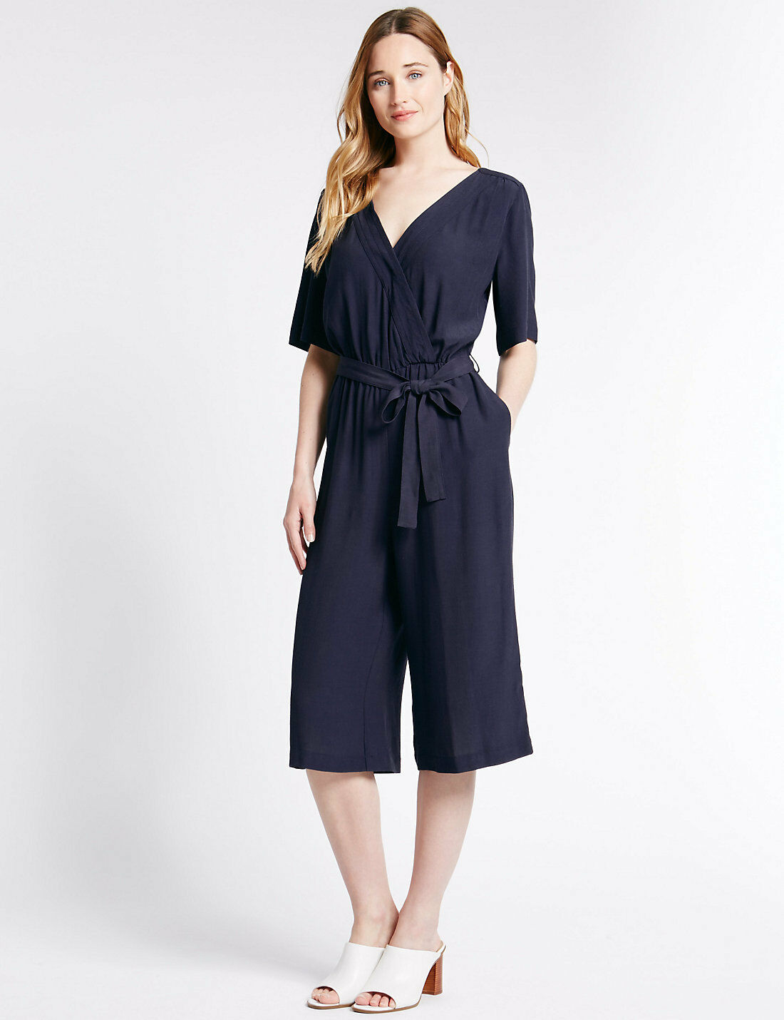 New M&S Collection Navy bluee Culottes Jumpsuit Sz